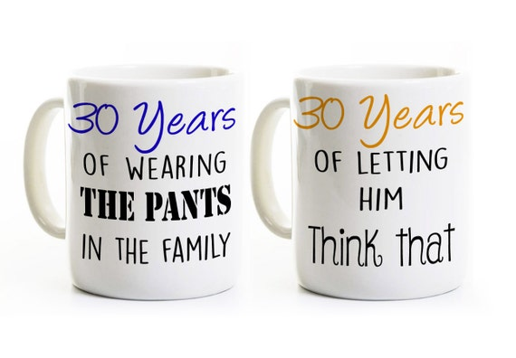 30th Wedding Anniversary Gift Ideas For Couples: 30th Anniversary Gift Couples Coffee Mugs Cups His And