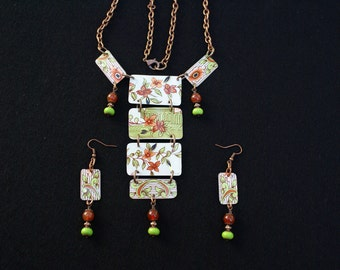 Cooper and green vintage tin Necklace and earrings