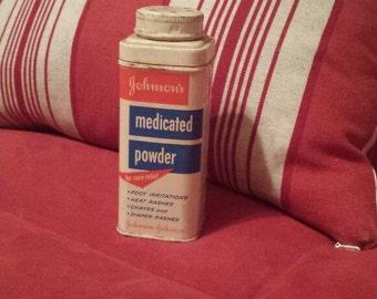 Johnson & Johnson vintage medicated powder tin. 1959.