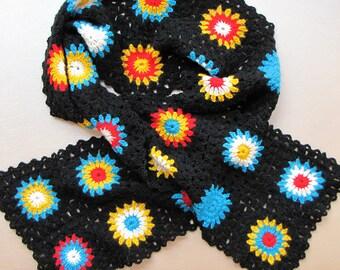 Crochet granny square scarf, handmade, colorful
