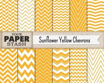 Yellow Digital Paper, Yellow, Chevron, Scrapbook Paper, Digital Paper, Sunflower Yellow, Goldenrod, Thanksgiving, Autumn, Commercial Use