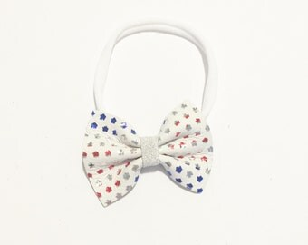 Baby Bow - Summer Bow - Fourth of July Bow - Leather Bow