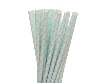 Paper Straws, Light Blue Damask Paper Straws, 1st Birthday Party Straws, Spring Party Decor, Baby Shower Paper Straw, Bridal Tea Party Straw