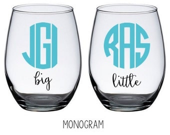 Big and Little Stemless Wine Glasses (Set)