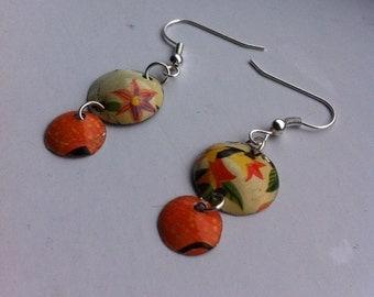 Retro upcycled tin earrings