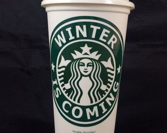 "Game of Thrones inspired ""Winter is Coming"" Starbucks Travel Cup"