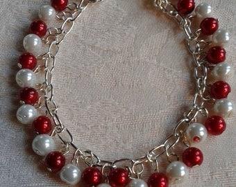 Red and white bracelet