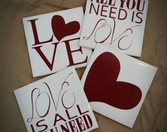 All You Need Is Love decorative coasters