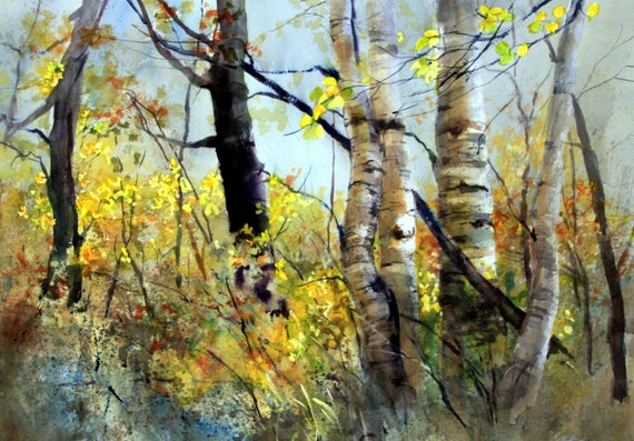 Aspen Grove 10 -- signed print - Bonnie White - watercolor print - trees - aspen grove - Glenwood aspens