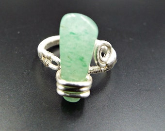 Jade Ring Adjustable Green Gemstoe Unique Sterling Silver Plated Wire Wrapped Rings Gift ideas for her boho Bohemian Hippie statement