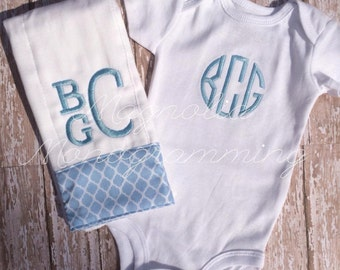 Boy or Girl - Boutique Monogrammed Onesie and Burp Cloth Gift Set