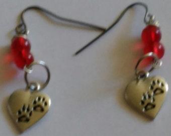 Paw Print Heart earrings