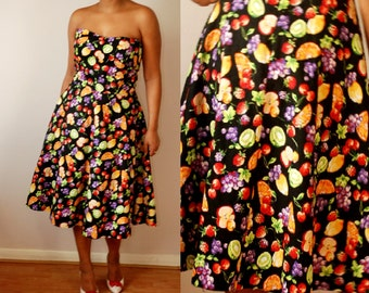 vtg retro style FRUIT PRINT Prom rockabilly dress UK10 12