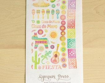 """Cinco de Mayo ~ Mexican Watercolor Planner Stickers in """"Arco Iris"""" (Inkwell Press, Erin Condren, Plum Paper, Fliofax, Kikki K, Happy)"""