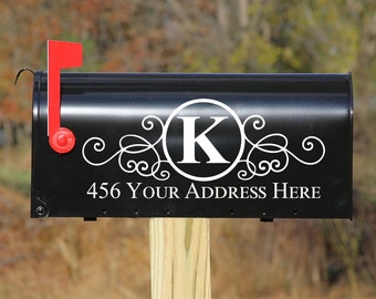 Custom Personalized Vinyl Mailbox DECAL #4 - Set of 2 - 16 Color Choices 5X12