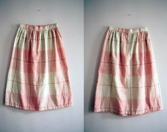 80s Pink Plaid Girls Skirt