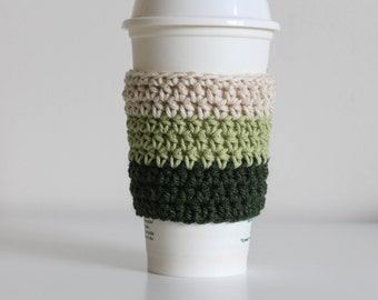 Ombre green coffee cozy, forest green coffee cozy, light green coffee cup sleeve, coffee cup cozy, vegan, cotton coffee cozy, earth tones