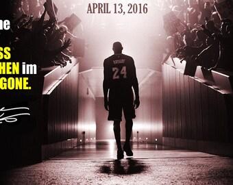 "Kobe Bryant poster Kobe's last game 2016 NEW farewell 16X24"""