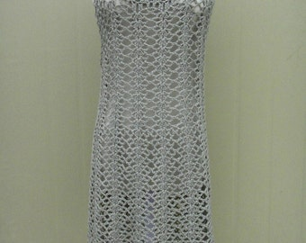 Crochet Sleeveless Dress Knee Length
