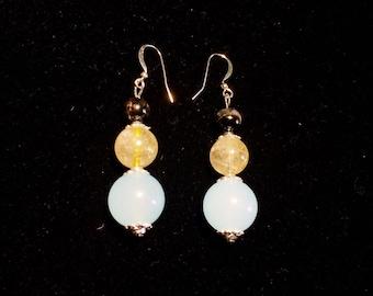 Multi-beaded( aquamarine, tourmaline and rutile) dangling earrings