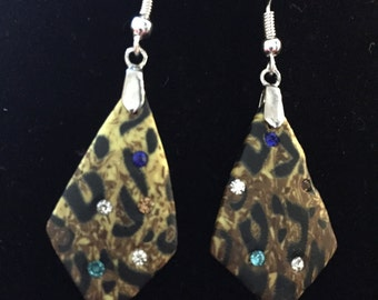 Leopard print with rhinestone earrings