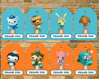 Octonauts Gift Tags, Thank you tags, Octonauts birthday, Digital download. Sale!!!!