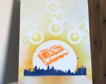 The Beat of the Cycle City - Stencil & Spray Paint Art Work