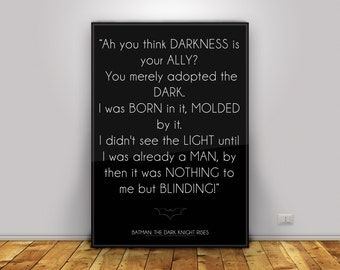 BATMAN - The Dark Knight Rises MINIMALIST Film Poster Print and Frame - Bane Quote