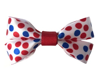 Red, White & Blue Polka Dot Dog Bow