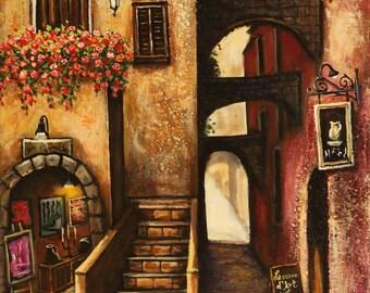 16po.x20po.Boutique au Village artiste peintre Mariana Flores,art figuratif naïf,oeuvre unique et originale.