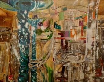 Wine Glasses Print | Oil Painting