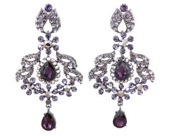 Bridal Purple Black Diamond Crystal Chandelier Earrings,Bridesmaids Crystal Dangle Earrings, Wedding Gift Jewelry, Statement Earrings