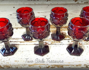Vintage Avon 1876 Cape Cod Wine Goblet Ruby Red