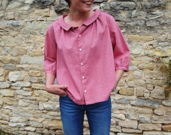 Shirt women's red with white polka dots in french organic cotton