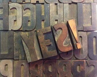 "Vintage 3"" Wooden Letter Press Alphabet & Number and Punctuation Blocks"