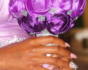 Bling Fabric Rose Bridesmaids bouquet, Throw Bouquet,  Destination wedding Bouquet,  bling bouquet, Rose bouquet, Wedding Bouquet