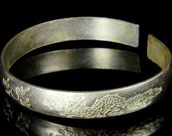 Chinese Dragon Japanese Pheasant Design Mystic Amulet adjustable Cuff bracelet