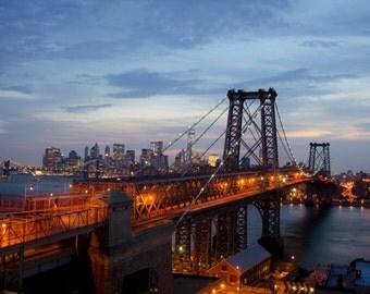 Original Photo of the Williamsburg Bridge and NYC Skyline at Sunset