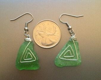 Green Hand Wired Sea Glass Earings
