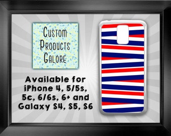 Patriotic Stripes Cell Phone Case/Cover, Red White and Blue, Available for iPhone 4, 5/5s, 5c, 6/6s, 6+ and Galaxy S4, S5, S6