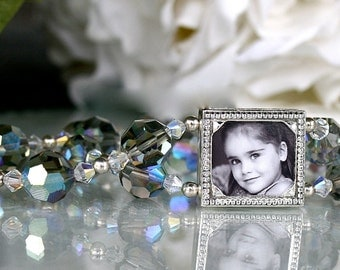 Mother of the Bride, Bracelet for Mother, Wedding Photo Bracelet, Swarovski Crystal Bracelet, Photo Jewelry, Custom Photo Gift