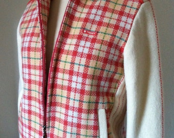 Cream and Mango Plaid Body Padded Wool Bomber Jacket by Palm Spring, USA.  Size 10-12