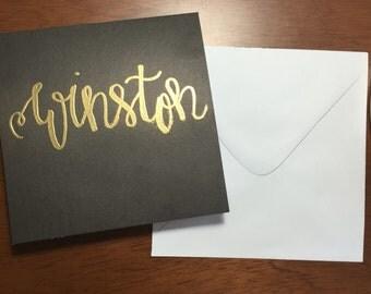 Custom Embossed Note card, Embossed Card, Embossed Paper, Embossed Stationery, Custom Handwriting, Personalized Note Card, Personalized Card
