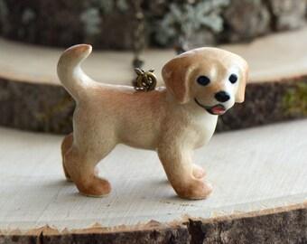 Hand Painted Porcelain Golden Retriever Necklace, Antique Bronze Chain, Vintage Style Dog, Ceramic Animal Pendant & Chain (CA043)