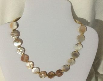 Cream shell puffy coin necklace