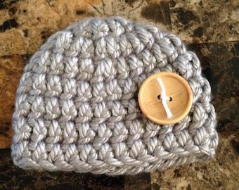 Silver newborn baby hat, newborn hat, baby hat, hat, newborn, baby, crocheted hat, crochet hat, crochet baby hat, crochet, silver