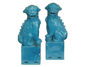 Sitting Porcelain Foo Dog Pair - Small - Multicolored