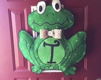 Frog Burlap Door Hanger