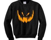Halloween PUMPKIN FACE JumperSweatshirt Trick Treat Fancy Dress Scary Costume