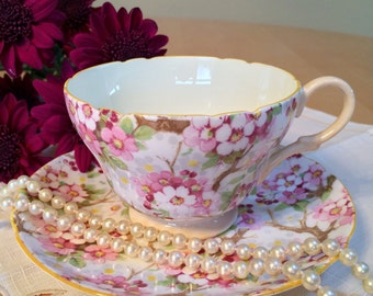 Vintage Shelley Teacup and Saucer, Maytime Chintz Pattern (13452), Bone China – c. 1940-1966, Henley Cup Shape